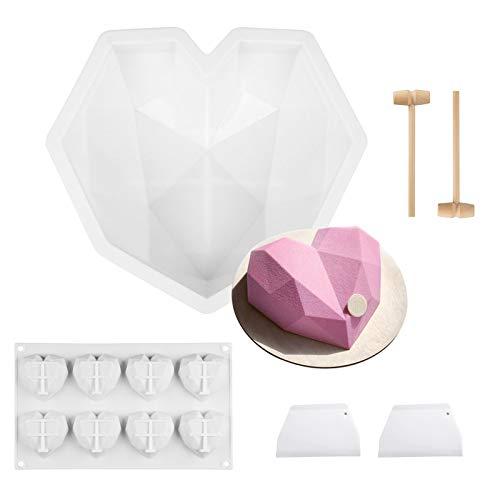 6 piezas Molde de silicona reposteria de corazón, Alldo Mol