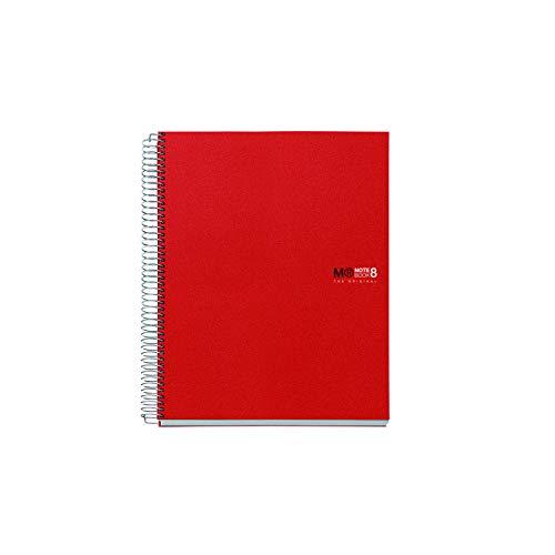 Miquelrius 42003 - Cuaderno A5, 200 hojas (franjas de 8 colores), cuadrícula 5 mm, tapa de polipropileno, color rojo