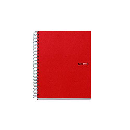 Miquelrius Basicos MR 42003, Cuaderno A5 con Tapa de Polipropileno, 200 Hojas, 5mm, Rojo