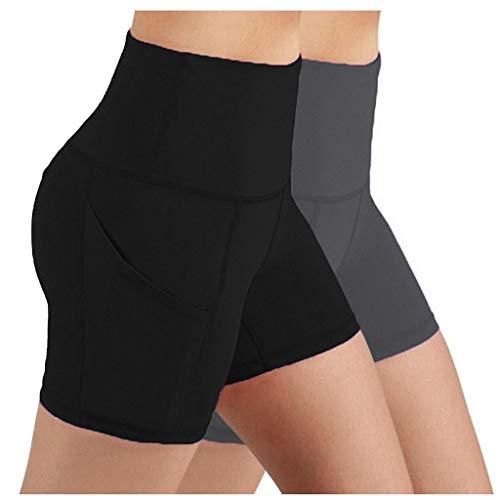 GenericBrands Taurner Mujer Pantalones Cortos Negros de Cintura Alta Mujer 2PC Leggins Elásticos Running Fitness Yoga Shorts para Gimnasio