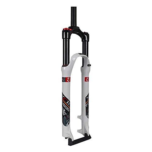SICONG Horquilla de Bicicleta de montaña,Horquilla de suspensión,Amortiguador,Control de Hombro Ligero de 26 Pulgadas Aleación de Aluminio Horquilla de suspensión MTB, Recorrido: 100 mm,Blanco