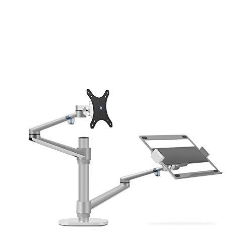 Soporte ajustable de aluminio para ordenador portátil de 10 a 17 pulgadas y monitor de 10 a 32 pulgadas con inclinación y soporte giratorio de escritorio para monitor cada carga 8 kg (plata)
