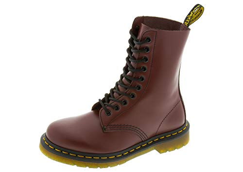Dr. Martens, 1490 10-Eye Leather Boot for Men and Women, Cherry Red Smooth, 12 US Women/11 US Men