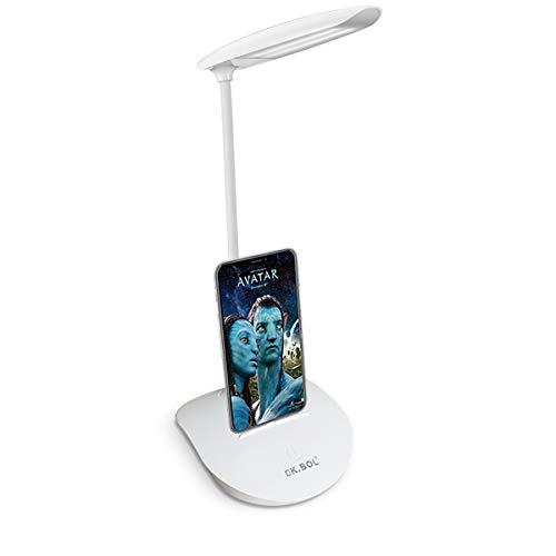KK.BOL Lámpara de mesa de tres niveles regulable LED para lectura de mesita de noche luz nocturna (se puede cargar por panel solar o cargador móvil Android USB o banco de energía)color blanco 7-21hrs