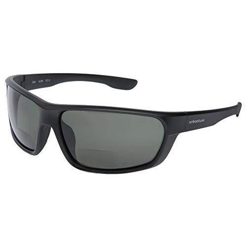 Urbanium Eyewear Oslo sportliche Sonnenbrille mit Sehstärke Modell Oslo mit polarisierten Gläsern in schwarz mit Addition +2.50