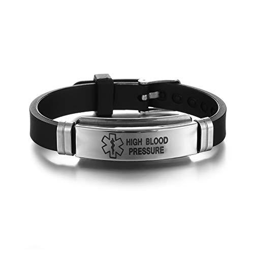 New Stainless Steel Women Men Emergency Jewelry Gifts Medical Alert Bracelets Epilepsy Alzheimer'S Bangles Diabetes(10)