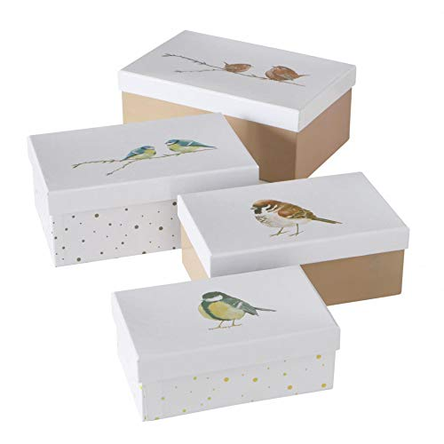CasaJame Set x 4 Scatole Organizer con Coperchio Contenitori Rettangolari Decorativi in Cartone Motivo Uccelli Multicolore Dimensioni Varie