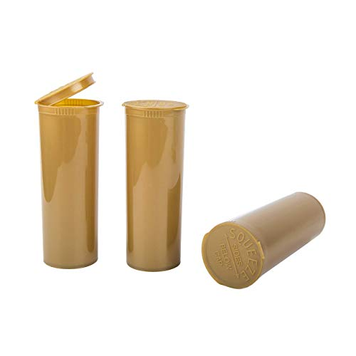 """Loud Lock Pop Top Dram Bottles - (Gold) - 60 Dram - 75 Per Case -(5.24"""" Deep X 1.89"""" Wide) - Packaging Supplies - Dry Herb Containers - Child Resistant Smell Proof Container - Pill Vials - Rx Vial"""