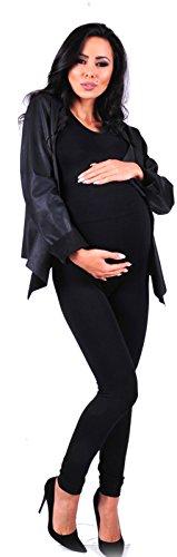 Thermo Umstandsleggings Schwangerschafts-Hose Leggings Umstandshose (schwarz)