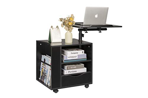 SIDUCAL Functional Bedside Table Adjustable & Swiel Wooden Nightstand with Drawers, Rolling Laptop Desk Computer Table, Black (Right Side)