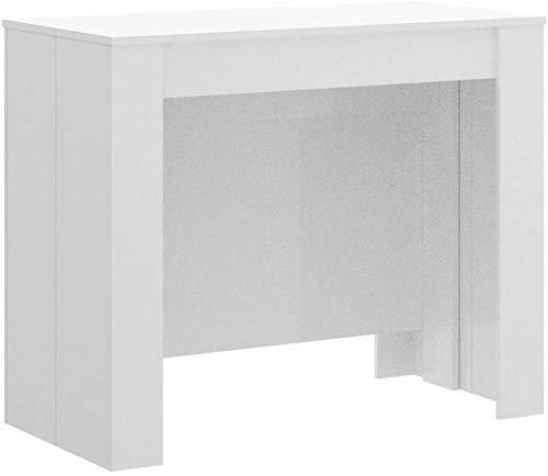 Mobelcenter - Mesa de Comedor Consola Extensible, Mesa para Salón recibidor o Cocina, Mesa Fuelle Extensible, Color Blanco Brillo (0589)