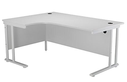 Office Hippo Professional Left Corner Office Desk, Wood, White, White Frame, 160 x 120 x 73 cm