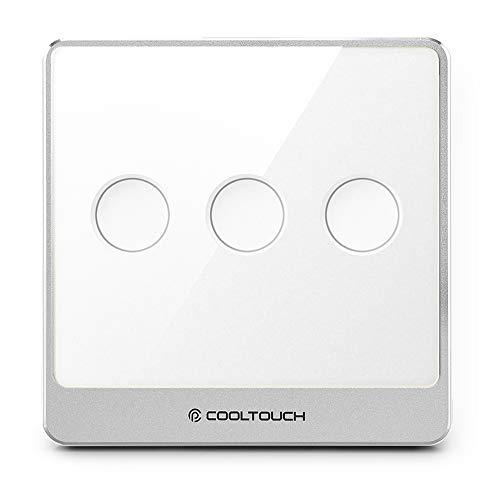 Cooltouch® Smart, interrupteur Z-Wave zwave protocal, stable, une bonne Réponse en look, et Swift Touch - 3 Buttons White/Silver