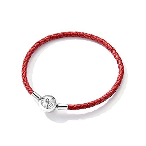 CHIOU Pulseras Pulsera de Cadena de Cuero para Cuentas Firma Grabar Marca Stelring Silver Jewelry Fit para el Encanto Original de Plata Dar Regalos (Length : 17cm)