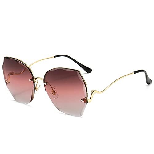 Gafas Sol De Hombre Mujer Polarizadas Sunglasses Gafas De Sol Sin Montura para Mujer, Gafas De Sol De Gran Tamaño De Lujo para Mu