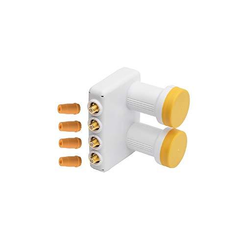 Monoblock Quad LNB 0,1 dB mit eingebautem DiSEqC Schalter 6,2 Grad für Astra 19,2 + Hotbrid 13 Doppel lmb digital sat 4 Teilnehmer direkt 4k uhd Ultra HD vergoldet mit Wetterschutz ARLI