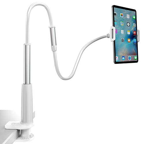 Flexible Phone Stand, Licheers Lazy Phone Holder Long Arm Gooseneck, 360 Rotating Bracket for Universal Cell Phone, Safe Grip Securely Clamped to Desk, Bed Post, Counter Top (White)