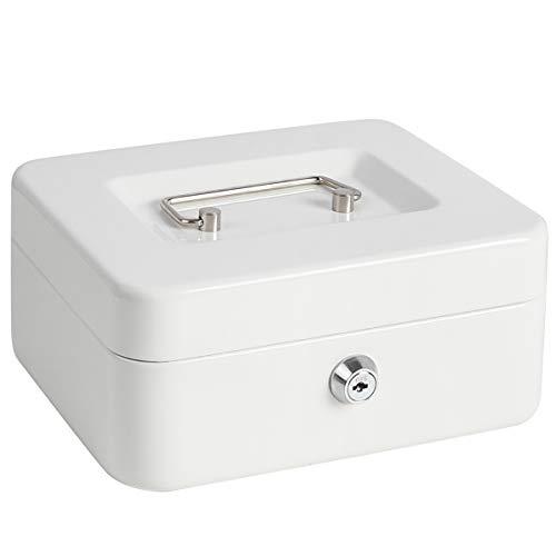 Caja de caudales pequeña con candado y ranura para monedas para niños, caja de cerradura con compartimento para dinero, color blanco medio