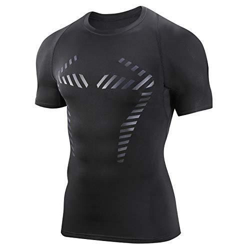 AMZSPORT Maglia Compressione da Uomo Magliette a Maniche Corte Camicia Palestra Sports Traspirante, Nero L