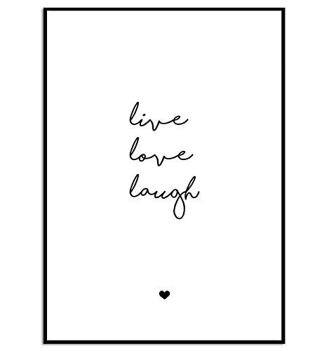 KGidee kgpack Live, Love, Laugh Kunstdruck auf wunderbarem Papier A4 ohne Rahmen schwarz-weißes Bild Poster zur Deko im Büro