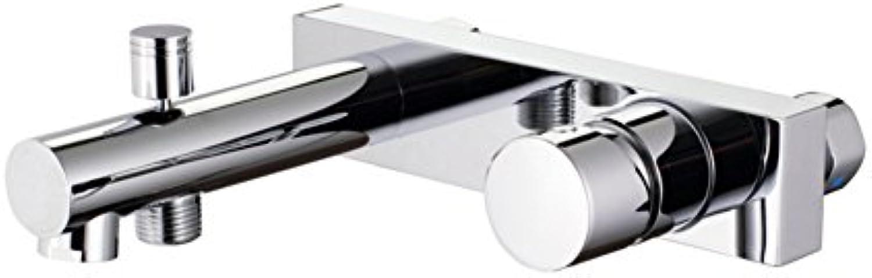 Einfache europische Mode aus massivem Messing dreifach Bademischer hei und kalt installieren Brausebatterie Seminyak Thermostat Badewannenhahn
