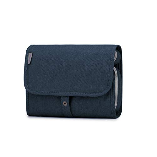 Wind Took Beauty Case da Viaggio per Donna Uomo Borsa da Toilette per Appendere Beauty Case Grande con Gancio Impermeabile Wash Bag Borsa da viaggio Blu scuro