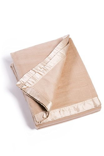 Fishers Finery Ultra Plush Blanket, Micro Velvet Fleece for Comfort and Warmth 100% Silk Trim (King, Sand)