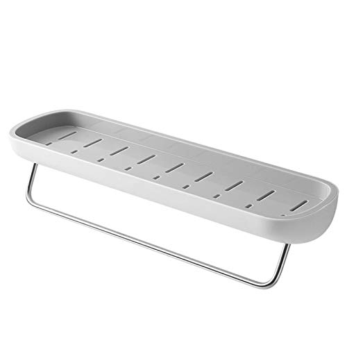 Estante flotante adhesivo para baño, organizador de pared, champú, especias, ducha, accesorios de baño, color gris