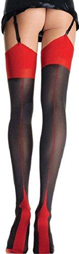 Leg Avenue Damen Straps Strümpfe 40 DEN Nylon Schwarz Rot mit dreieckiger Ferse und rückwärtiger Naht Einheitsgröße 36 bis 40