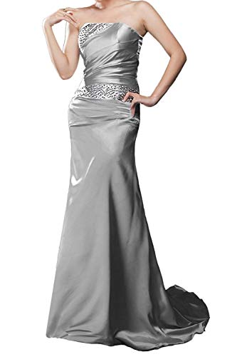 APXPF Women's Long Beaded Mermaid Evening Bridesmaid Dress Formal Prom Gown Silver US12
