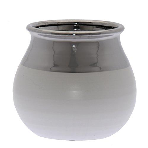 DRW bloempot van keramiek, wit mat en zilverkleurig, diameter 19,5 x 18 cm