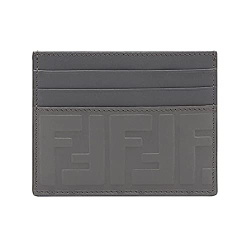 Fendi Signature Calf Leather Anthracite Gray Palladium Card Case w Embossed FF Logo 7M0164