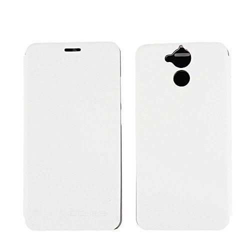 Ycloud Tasche für Blackview P2 Lite Hülle, PU Ledertasche Metal Smartphone Flip Cover Hülle Handyhülle mit Stand Function Weiß