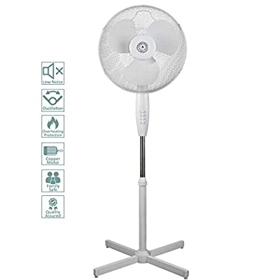 "Ecolighters 16"" Oscillating Pedestal Stand Fan - Low Noise Copper Motor, Oscillation, Safe for babies, Powerful - Perfect for Home or Office"