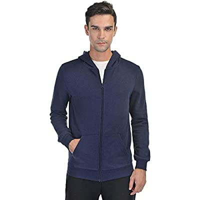 Qualidyne Men's Full Zip Fleece Hoodies Midweight Workout Thermal Sweatshirt Long-Sleeve Athletic Hooded Jacket Navy Blue