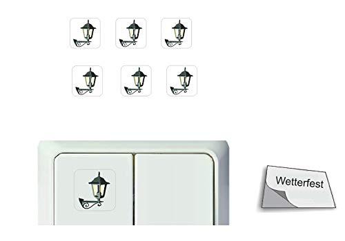 Generisch 6 Stück Schalter Aufkleber Set Laternen Symbol (R23/17) T (1,5 x 1,5 cm)