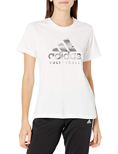 adidas Volleyball Graphic Logo Camiseta, Blanco, Extra-Small para Mujer