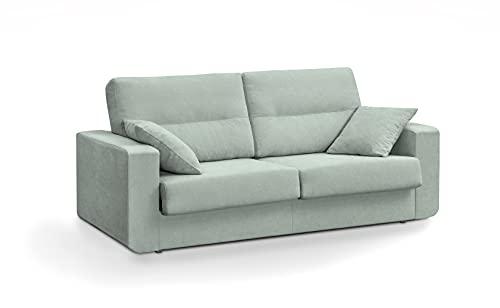 MUEBLIX.COM | Sofa Cama Italiano BOLONIA | Sofas de Salón Modernos | Asientos y Respaldo Espuma | Sofa Tapizado en Tela y Armazon de Madera de Pino | Color Azul
