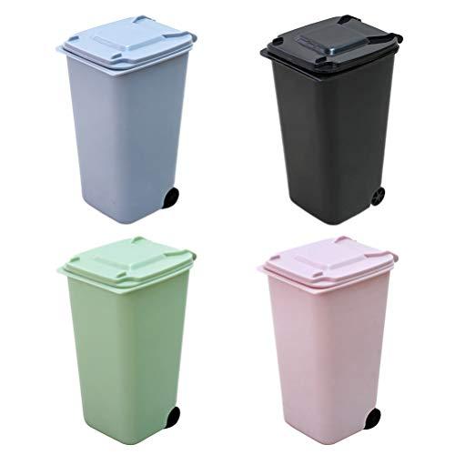Toyvian - Mini Cesta de plástico para la Mesa, Papelera, Organizador de Basura, para Oficina, Escuela, casa, 4 Unidades