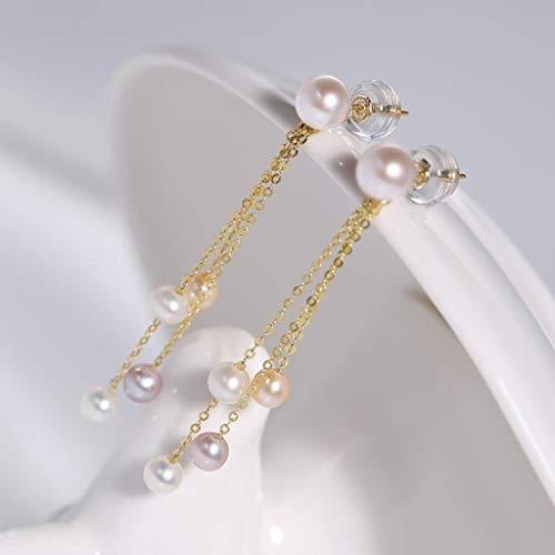HAKLAKY Aretes de Plata Pendientes Brillantes Perlas de Agua Dulce Pendientes de la Borla de Oro 18K, señoras de joyería de Perlas (Blanco) Pendientes de Mujer (Color : B)