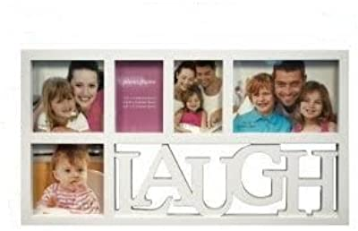 White Laugh Collage Photo Frame/Plastic Picture Frame with 5 Glass Windows (Frame Size