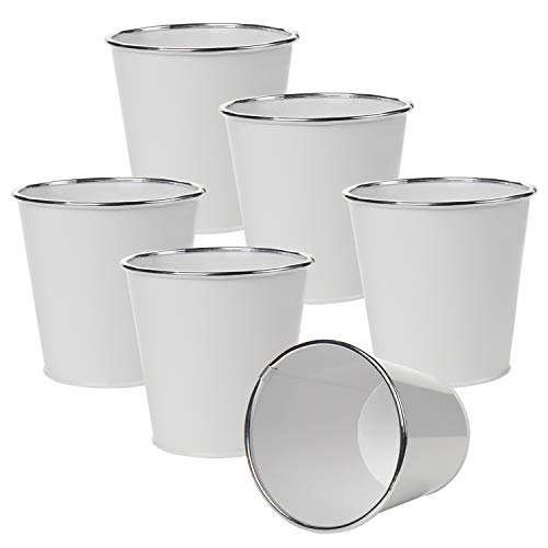 5' Galvanized Buckets Metal Flower Pots for Succulents Herbs Plants Small Planters Outdoor Garden Planters Set of 6 for Arts and Crafts Farmhouse Decor Garden Balcony Decoration - White