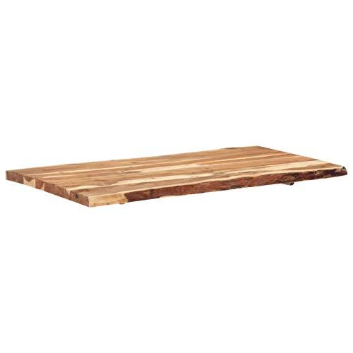Tidyard Massivholz Tischplatte Baumkante Massivholzplatte Akazie 80/ 120x60x2,5 cm
