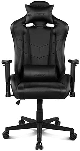 Drift DR85B - Silla Gaming Profesional, polipiel, reposabrazos 2D, piston clase 4, asiento basculable, altura regulable, respaldo reclinable, cojines lumbar y cervical, color negro