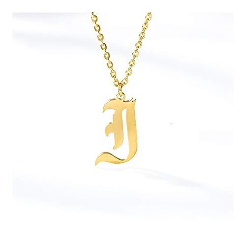 26文字の宝石類の古い英語のアルファベのネックレスA B C D E F G H I J K L M N O P Q R S T U V W X Y Z (Main Stone Color : Gold, Metal Color : J)
