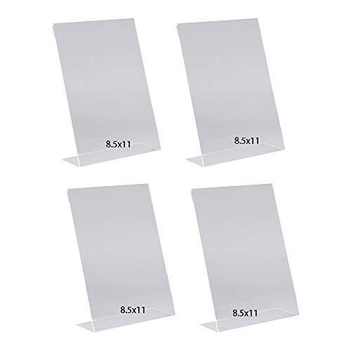 Soporte para letreros de acrílico con parte trasera inclinada, 8.5 x 11 pulgadas, soporte de plástico transparente, soporte de mesa para oficina, tienda, restaurante (paquete de 4)