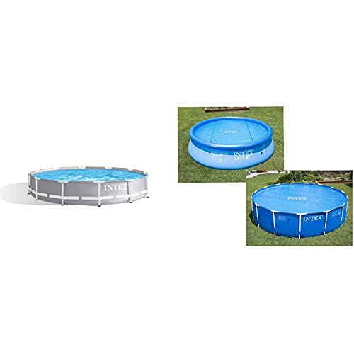 Intex 26710Np Piscina Desmontable Redonda, con Depuradora, 366 X 76 Cm + 29022 Cobertor Solar para Piscinas 366 Cm De Diámetro