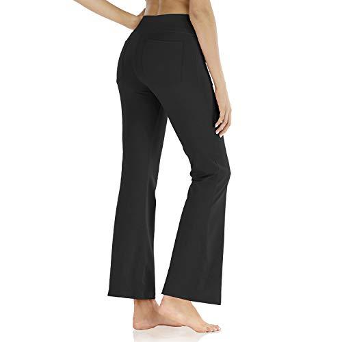 Butrends Damen Bootcut Yogahose mit Taschen Hohe Taille Workout Fitness Hose Bauchkontrolle Stretch Sport Hosen Damen, Schwarz, M