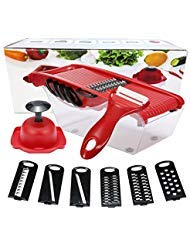6 Pcs Interchangeable Stainless Steel Blades Vegetable Chopper Slicer Dicer Cutter & Grater with Storage Container Hand Protector Safe and healthy material, suitable for all kinds of fruits and vege