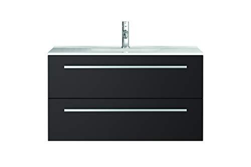 Waschtischunterschrank mit Waschbecken Libato 60 90 120 cm - weiß anthrazit Eiche grau Hochglanz - Badmöbel Badezimmermöbel Unterschrank hängend [Sieper Qualität aus Deutschland] (90, anthrazit)
